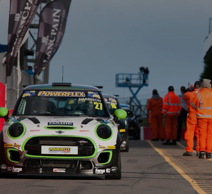 A Mini Cooper on the race track with Powerflex Black Series bushes for competition use