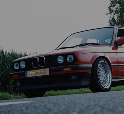 A classic car with grey Powerflex Heritage bushes - fitted on BMW